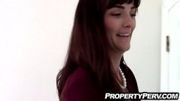 Sexy brunette real estate agent in stockings fucks her client